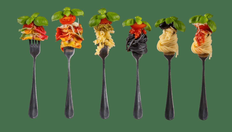pasta y tenedores